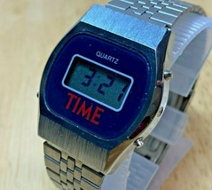 RARE Vintage Time Men Silver Digital Stopwatch Watch Hour~Light~Date~New Battery - $36.09