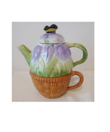 """Vintage ~ 3 Piece ~ Purple Flower ~ Ceramic """"Tea for One"""" Teapot and Cup... - $45.60"""