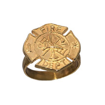 24k Yellow Gold Pltd FireFighter Maltese protection cross Badge ring Jew... - $30.69