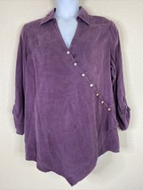Soft Surroundings Womens Plus Size 1X Purple Diagonal Button Up Shirt Ro... - $31.68