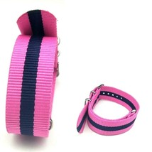 22mm X 255mm Nato Canvas Nylon wrist watch Band strap NAVY BLUE PINK DII - $14.22