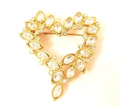 ROMAN Vintage Signed Heart Shaped Clear Marquise Rhinestone Gold Pin Bro... - $34.60