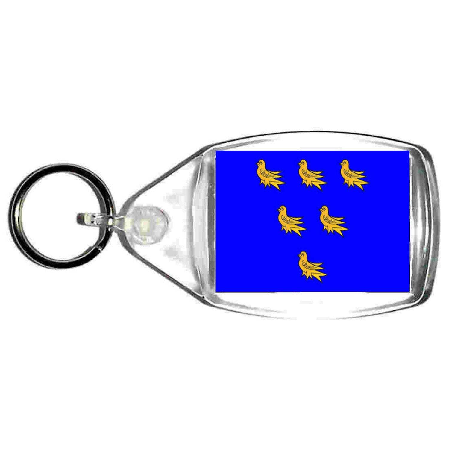 keyring double sided uk county of sussex flag, keychain, key ring, made in uk