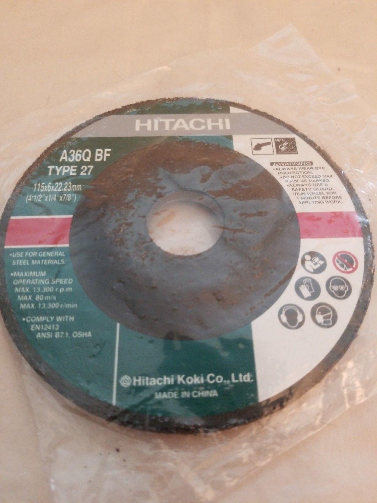 """Hitachi Grinding Wheel A36Q BF Type 27 (4-1/2""""x 1/4""""x 7/8"""")"""