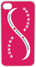 Light Pink and White Infinity Paw w/ Four Navy Custom Names on iPhone 4 ... - $15.95