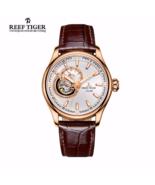 Reef Tiger Men Luxury Leather Watch Tourbilon Automatic Sapphire Crystal... - $336.99