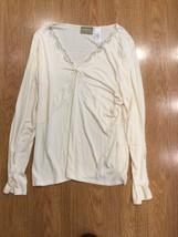 EUC Women Liz Claiborne Lizwear Long sleeve Beaded beige Tan Long Sleeve... - $17.25
