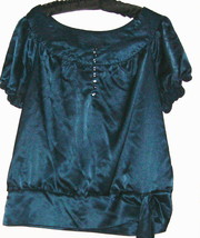 WOMEN'S BLUE JEWEL TONE SCOOP NECK BLOUSE SIZE L - $6.00