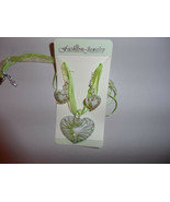 green and gold sparkle murano glass heart ribbon necklace and earing set - $8.00