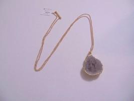 "Macys 38"" Gold Tone Grey Quartz Pendant Necklace H796 - $14.39"