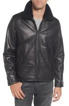 New Two Waist Pocket Trimmed Fur Mock Collar Men's Leather Jacket Biker jacket