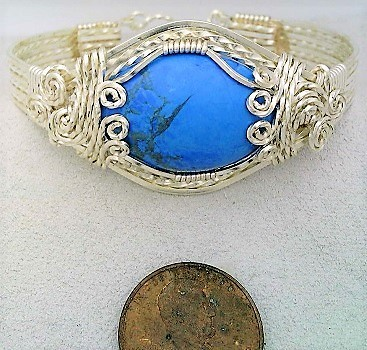 Blue howlite agate silver plate bracelet  1