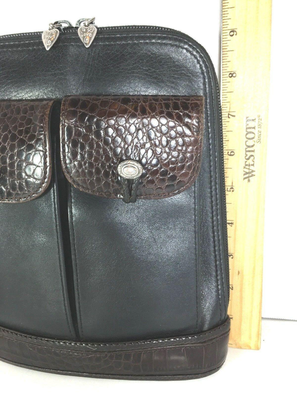 Brighton Vintage Small Black Leather with Brown Reptile Print Trim Shoulder Bag