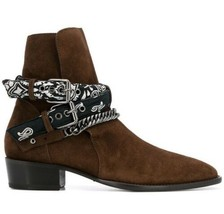 New Handmade Pure Suede Leather Brown Stylish Chain Ankle Strap Boot for... - $130.00