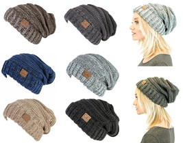 Official CC Unisex Oversized Trendy Warm Knit Slouchy Cap Tricolor Beani... - $14.80+
