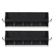 Small Coat Rack Shelf Wall-Mounted with Hooks Wood Entryway Organizer Key Phone  image 4
