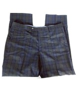 Samuelsohn Men's Dress Pants 36 X 29 Reg Flat Front Tartan Plaid Q62 Blu... - $81.57