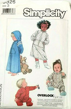 Simplicity Sewing Pattern 8326 Child's Loungewear Sleepers and Robe Size 3 - $5.54
