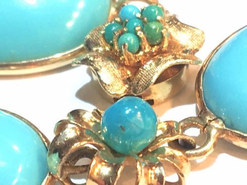 VERY big cabs Arts&Crafts turquoise Victorian Persian turquoise clasp bracelet