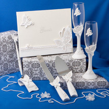 Butterfly Theme Wedding Accessories Set Guest book Toasting flutes Serving Pen - $63.36