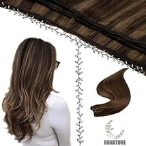 RUNATURE Sew Hair 16 Inch Color 2P8A Darkest Brown with Light Brown Hair... - $50.78