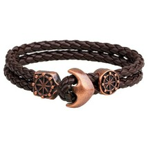 Brown Anchor Snake Pattern Leather Bracelet - $15.00