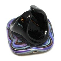 Ring Antica Murrina, Murano Glass, Black Purple, Leaf Gold, Big Square image 2