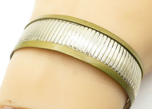 MEXICO 925 Sterling Silver - Vintage Two Tone Linear Etched Cuff Bracelet- B6282