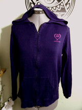 VICTORIA'S SECRET Hoodie Sweatshirt Small Purple Full Zip Up Lounge wear... - $12.86