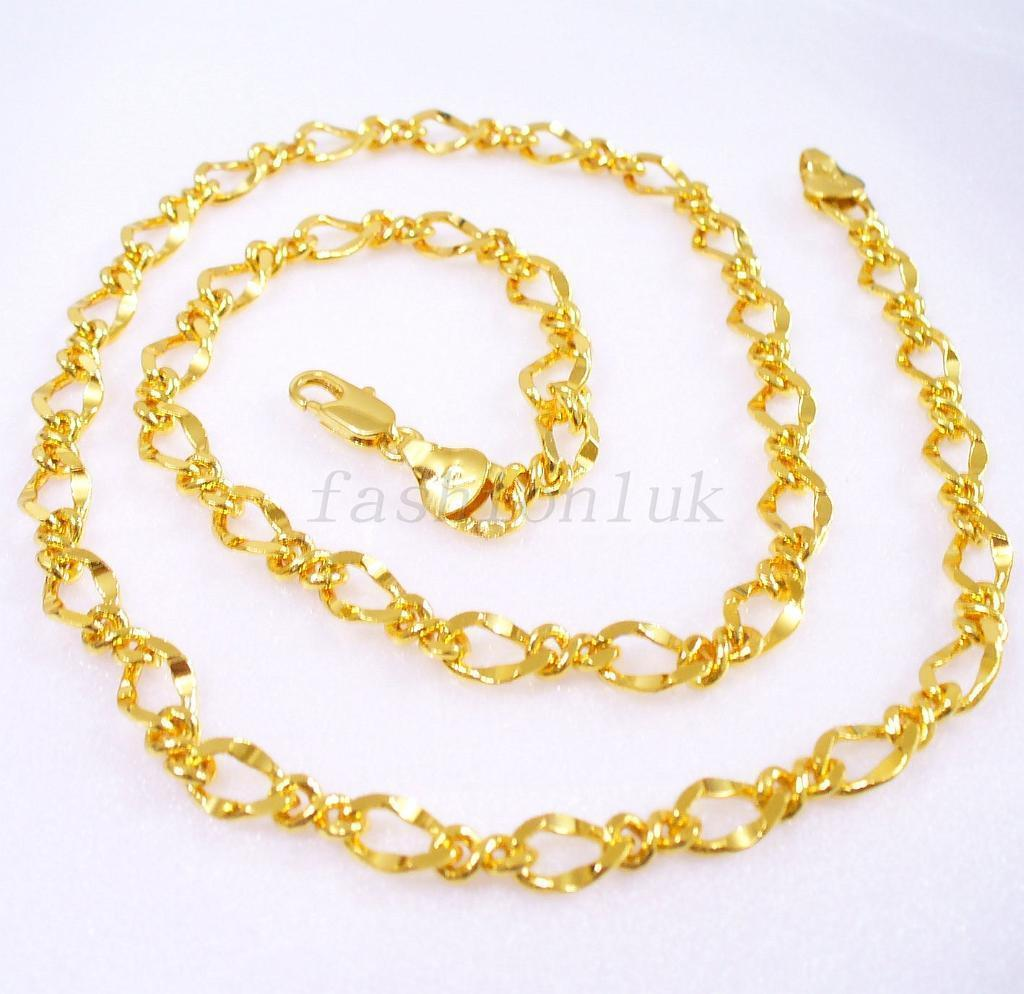 Women Gift Shining Sparkle Chain Necklace 49cm 24K Yellow Gold Plated UK
