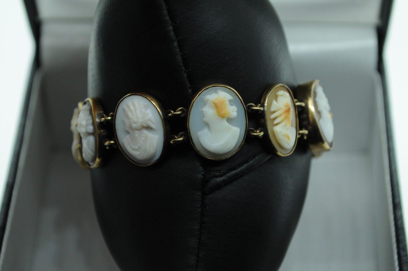 "Art Deco (ca. 1900) 14K Yellow Gold 11 Bezel Set Cameo Bracelet (6 5/8"")"