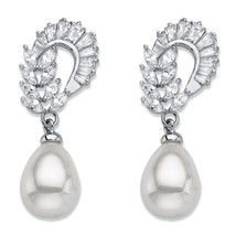 3.08 TCW Simulated Pearl and Cubic Zirconia Silvertone Drop Earrings - $20.99