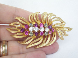 Vintage Pink Feather Rhinestone Brooch Pin Brushed Gold Plated Purple Sm... - $17.33