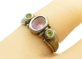 925 Sterling Silver - Vintage Amethyst & Peridot 3 Stone Band Ring Sz 6 ... - $24.93