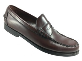 SH7 Cole Haan 11D Brown Burgundy Leather Penny Loafer Shoes Moc Toe - $29.69