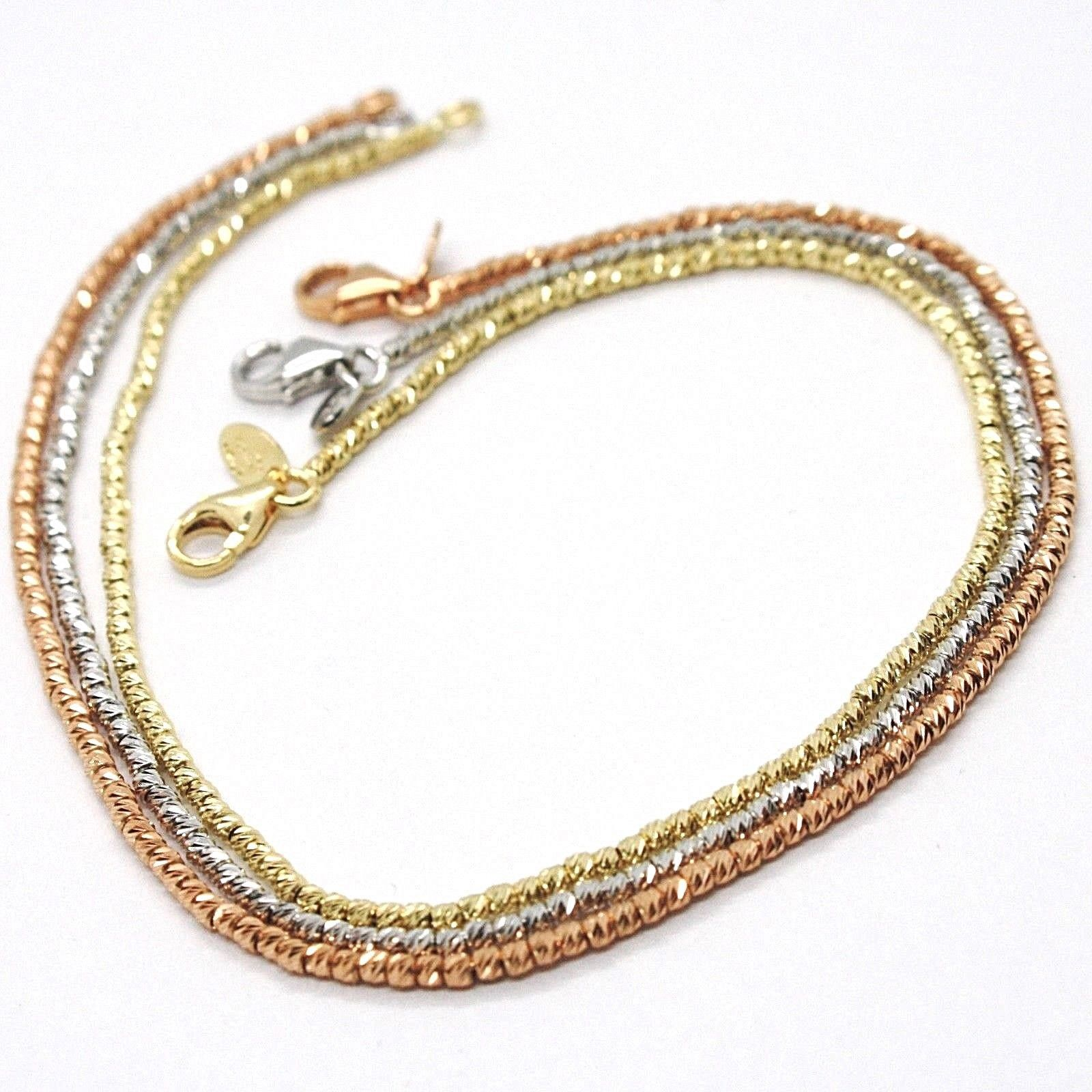 3 18K ROSE WHITE YELLOW GOLD BRACELETS, DIAMOND CUT BALLS 1.5 MM, TRIPLE WORKED