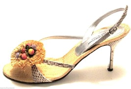 Dolce & Gabbana D&G Shoes Snakeskin & Dried Floral Front Strappy Heels 3... - $117.12