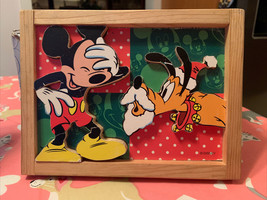 Disney Mickey Mouse & Pluto Santa's Helper in Wood Frame Cut Out Unique Rare New - $24.99