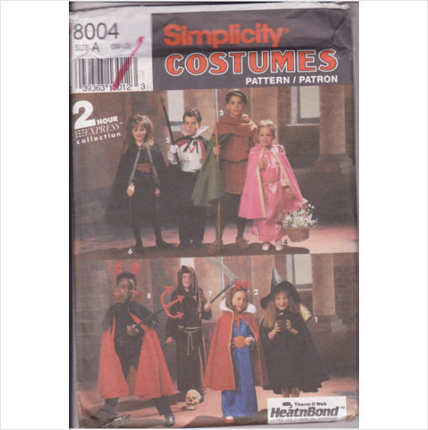 Simplicity 8004 Childs Kids Costumes Sizes Small to Large Dracula Vampires Witch