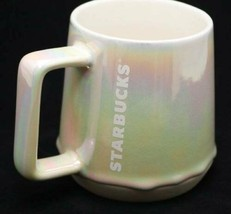 Starbucks 2019 White Iridescent Rainbow Drip Ceramic Coffee Mug Cup 12 f... - $39.55