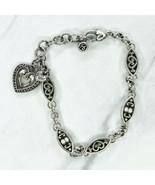 "Brighton Silver Tone Hope Love Heart Chain Link Charm Bracelet 8.25"" - $22.45"