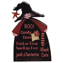 Country BOO WITCH Primitive Rustic Halloween Wooden Block Black Cat Pump... - $100.00