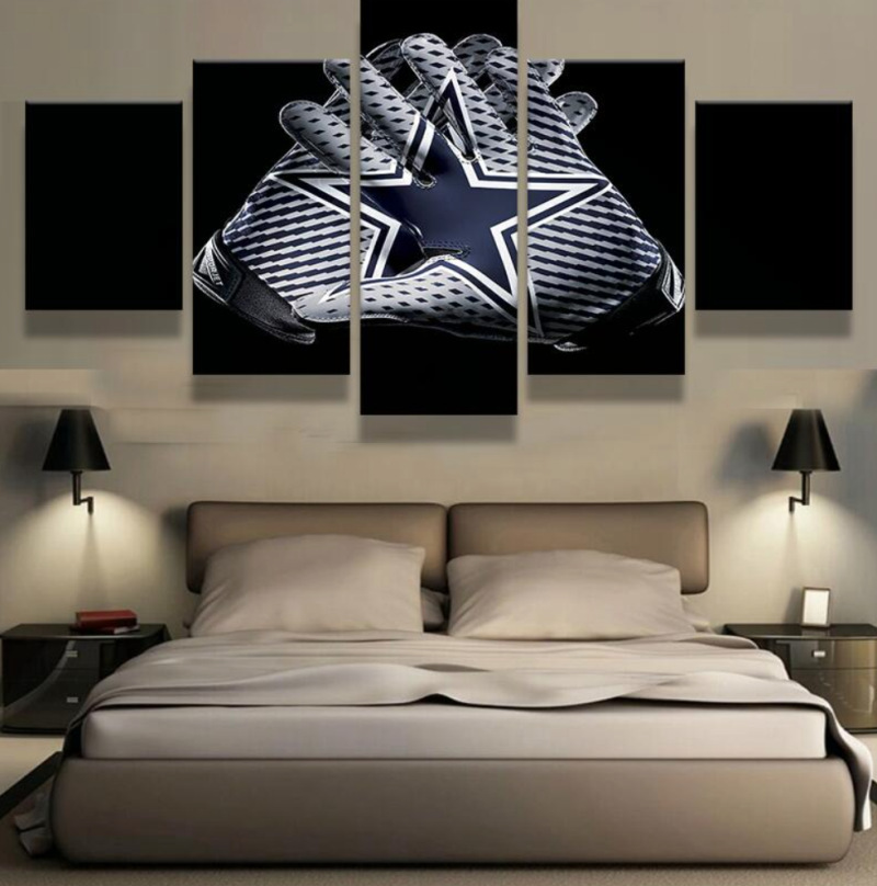 Dallas Cowboys Bedroom Decor: Dallas Cowboys Gloves HD Rugby 5 Piece Canvas Art Wall Art