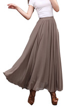 Taupe Maxi Chiffon Skirt Women Chiffon Maxi Skirts High Waist Bridesmaid Skirts