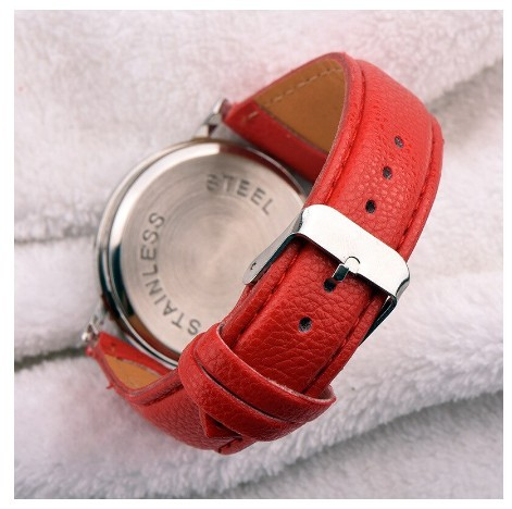 Round Lovely Flamingo Watches Women White Leather Casual Wristwatch image 4