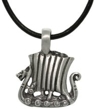 Jewelry Trends Pewter Viking Ship Pendant with 18 Inch Black Leather Cord Neckla - $19.20