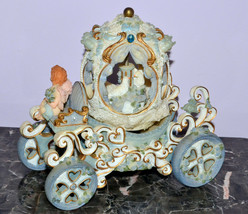 Musical Carriage Angel Cherub Driving Rotating Doves Plays Nocturne - $19.34