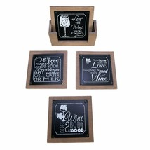 Wine Coasters Set with Holder for Drinks Glasses and Bar Accessories Déc... - $18.80