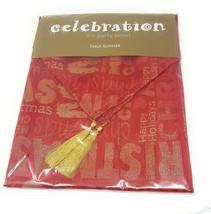 "CHRISTMAS WORDS GREETINGS RED GOLD TABLE RUNNER TASSELED 13"" X 72"" LAST ... - $5.31"