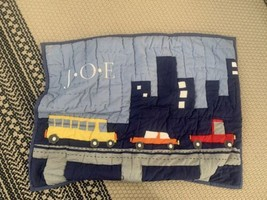 Pottery Barn Kids Boys On The Road Pillow Sham ONE Monogrammed J.O.E (READ) - $9.49